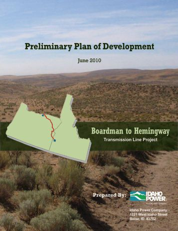 Preliminary Plan of Development Boardman to Hemingway