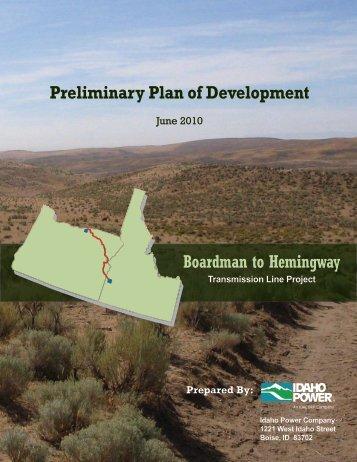 Preliminary Plan of Development Boardman to Hemingway