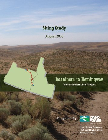 Siting Study - Boardman to Hemingway Transmission Line Project