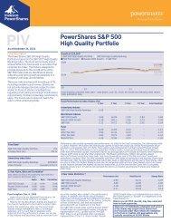 PowerShares S&P 500 High Quality Portfolio Fact Sheet (PDF)