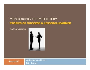 Mentoring from the Top: Stories of Success and Lessons ... - AACRAO