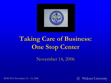 Taking Care of Business: One Stop Center - aacrao