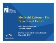 Medicaid Reform – Past, Present and Future - Florida Center for ...