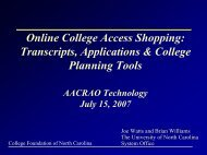 One-Stop College Access Shopping - AACRAO