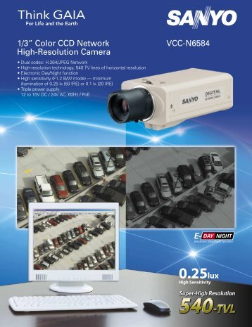 "1/3"" Color CCD Network High-Resolution Camera VCC-N6584"