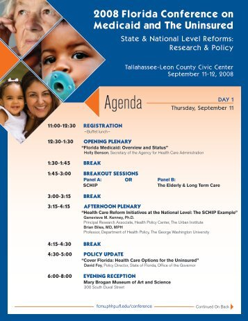 View the Agenda - Florida Center for Medicaid and the Uninsured