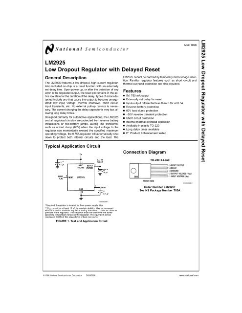 NS LM2925T TO-220 Low Dropout Regulator with Delayed Reset