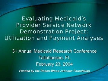 Evaluating Medicaid's Provider Service Network Demonstration ...