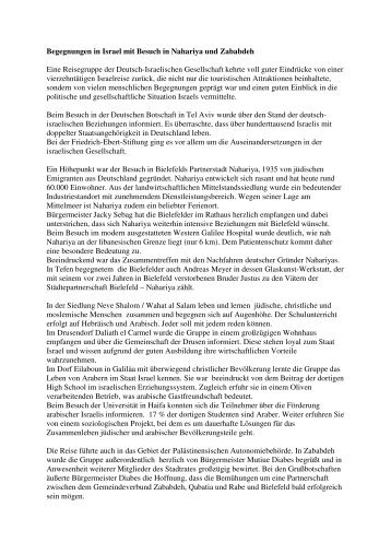 Reisebericht - Deutsch-Israelische Gesellschaft