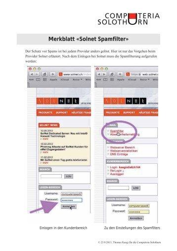 Merkblatt Â«Solnet Spamfilter - Computeria Solothurn