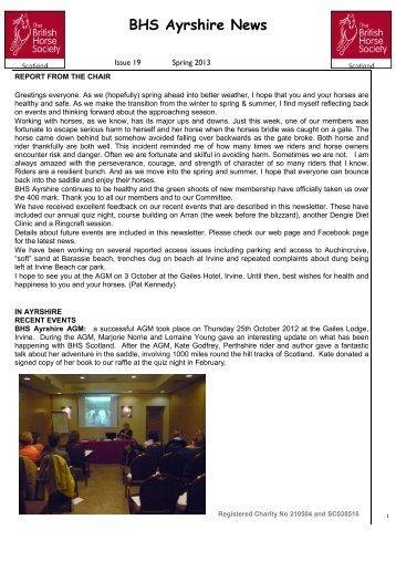 Spring 2013 Newsletter - British Horse Society Scotland