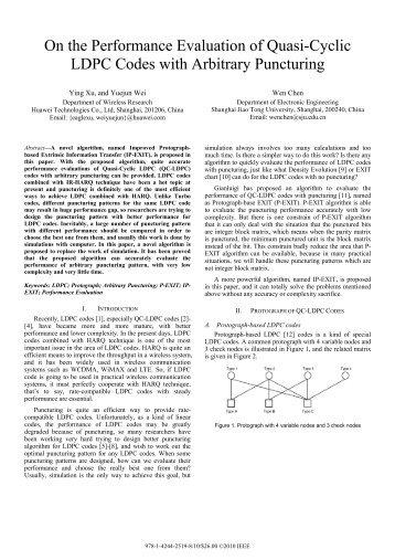 On the Performance Evaluation of Quasi-Cyclic LDPC ... - IEEE Xplore