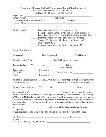 Rental Agreement Application Rice Lake Cottage Rentals