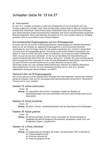 Schüssler-Salze Nr. 13 bis 27
