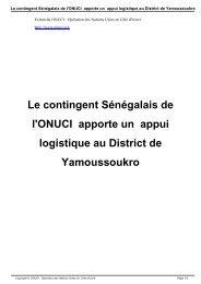 Le contingent Sénégalais de l'ONUCI apporte un appui logistique ...