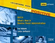 ID213: What's New in Domino Rnext Administration - Lotus Sandbox