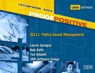 ID211: Policy-based Management - Lotus Sandbox