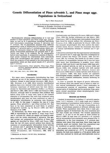 Genetic Differentiation of Pinus sylvestris L. and Pinus mugo aggr ...