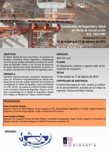 Curso Coordinador Seguridad y Salud.pub - Colegio de Ingenieros ...