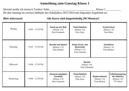 Anmeldeformular Pdf Grundschule Osteel