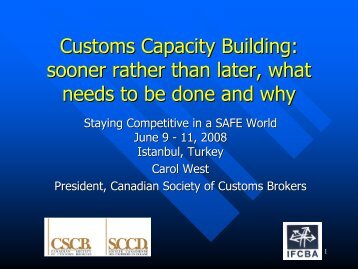 Customs Capacity Building: sooner rather than later, what needs to ...