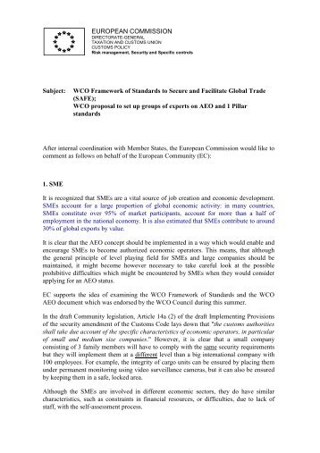 Comments from the European Commission on WCO proposal to est ...