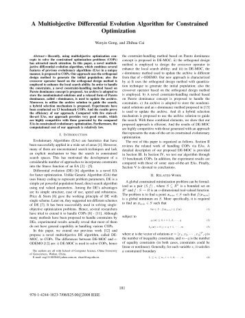 A Multiobjective Differential Evolution Algorithm for Constrained ...