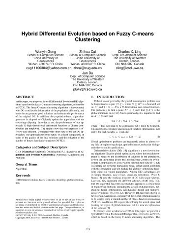 Hybrid Differential Evolution based on Fuzzy C-means Clustering