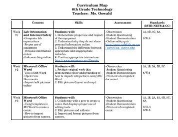 Curriculum Map 6th Grade Technology Teacher: Ms. Oswald