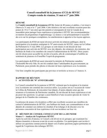 de SEVEC Compte-rendu de réunion, 31 mai et 1 juin 2006