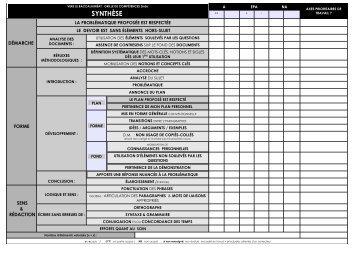 VERS LE BAC (général ou technologique) : Grilles de compétences