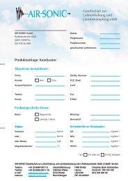 AIR-SONIC Produktanfrage: Katalysator