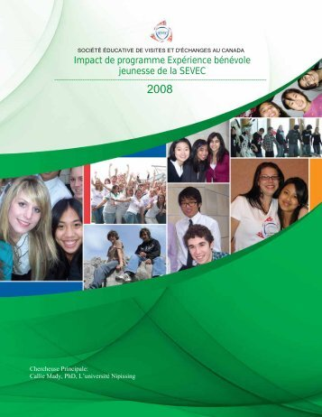 Impact de programmeExpérience bénévolejeunesse - sevec