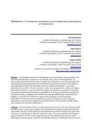 Proposition à l'intégration des profils dans le processus de ... - ISDM