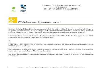 """Le programme """"Tic et Territoire : quels développements ?"""" - ISDM"""