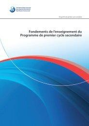 Fondements de l'enseignement du Programme de premier cycle ...