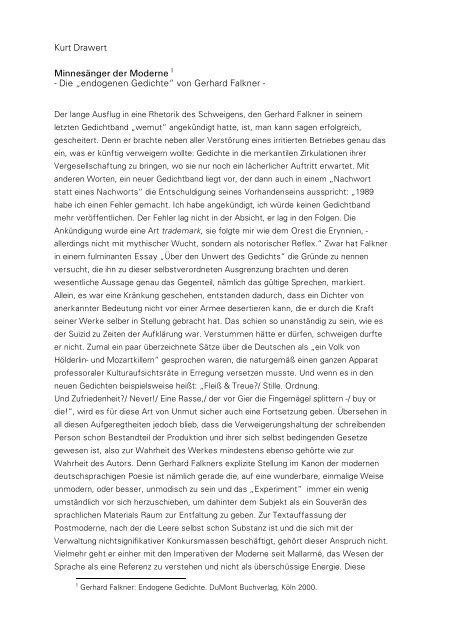 Die Endogenen Gedichte Von Gerhard Falkner Kurt Drawert