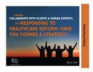 healthcare reform plan design strategy - Plante Moran