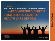 recommended benefit strategies in light of health ... - Plante Moran