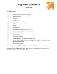 Conference Packing List and Directions - Catapult Leadership Camp