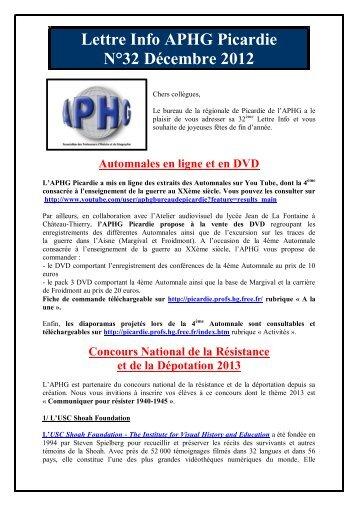 Lettre Info APHG Picardie N°32 Décembre 2012 - Free
