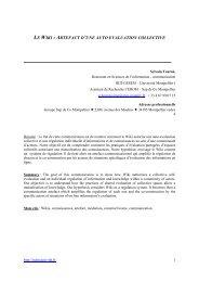 le wiki : artefact d'une auto evaluation collective - ISDM