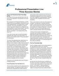 Professional Presentation Live: Three Success ... - Persona Global