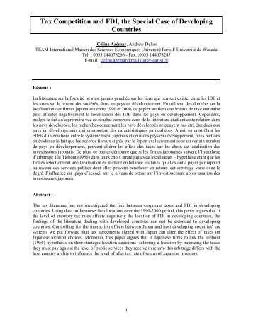 Tax Competition and FDI, the Special Case of Developing ... - ISDM