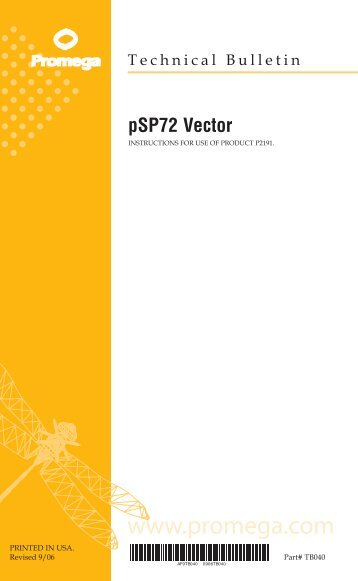pSP72 Vector Technical Bulletin #TB040
