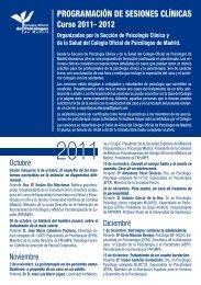 programación de sesiones clínicas - Colegio Oficial de Psicólogos ...