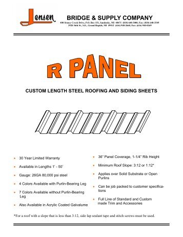 R Panel Information Sheet - Jensen Bridge & Supply