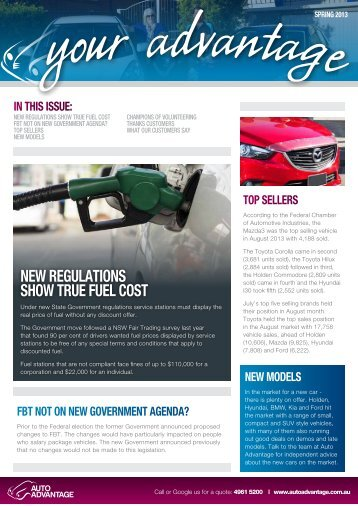 in this issue: new regulations show true fuel cost