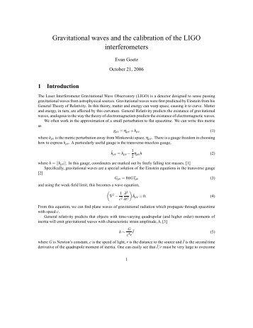 Gravitational waves and the calibration of the LIGO interferometers