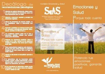 Triptico emociones y salud - Colegio Oficial de Psicólogos de Madrid